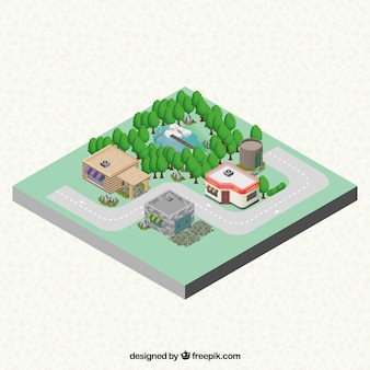 Isometrische Dorf