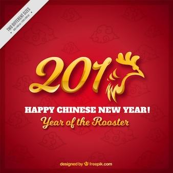 Jahr des Hahns Hintergrund mit goldenen Details