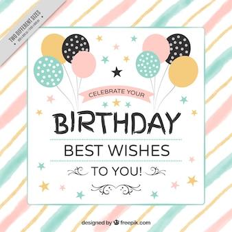Jahrgang Geburtstag Hintergrund mit Luftballons und Aquarellstreifen