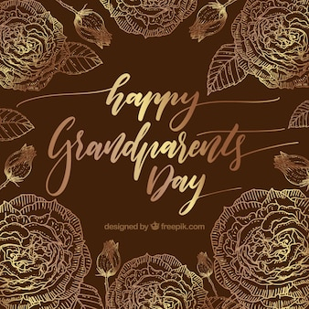 Jahrgang Hintergrund der glücklichen Großeltern Tag mit goldenen Blumen