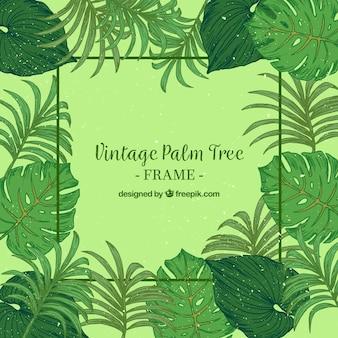 Jahrgang Hintergrund der Hand gezeichnet Palmblatt