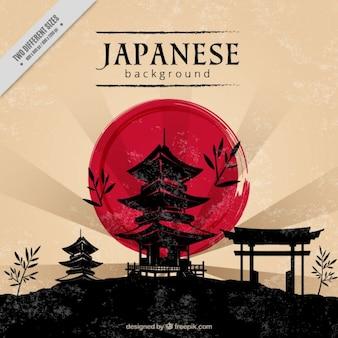 Japanische Hintergrund der Landschaft mit einem Tempel