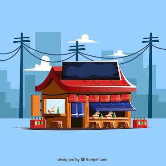 Japanisches Restaurant mit Stadtbild