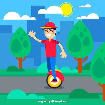 Junge mit Kappe, die elektrischen Roller reitet