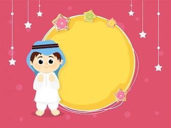 Junge mit Mond und Sternen Hintergrund