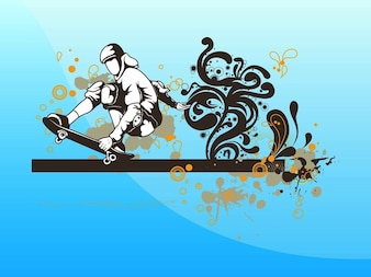 Junge mit Skateboard Grunge Vektor