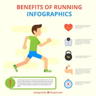 Junger Mann läuft mit infografischen Elementen