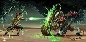 Kampfszene zwischen elf und Tier Fantasie Vektor-Illustration