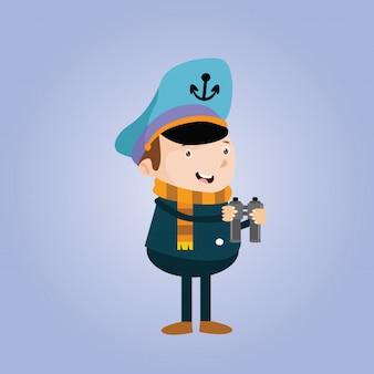Kapitän Seemann Seemann Seemann Marine Cartoon Charakter