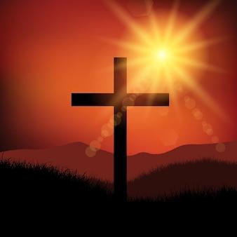 Karfreitag Ostern Landschaft mit Kreuz