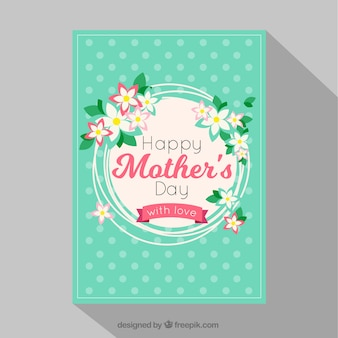 Karte der Mutter Tages mit Punkten und Blumenschmuck