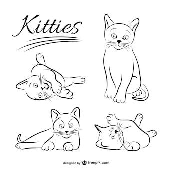 Kätzchen Zeichnungen kostenlosen Vektor