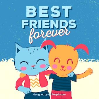 Katze und Hund Freundschaft Tag Hintergrund