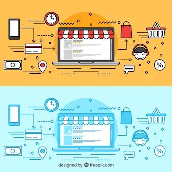 Kaufen Sie online mit dem Laptop