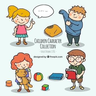 Kinder Charakter Sammlung in Hand gezeichnet Stil