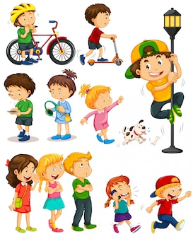 Kinder machen verschiedene Aktivitäten