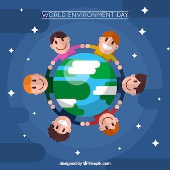 Kinderhintergrund um die Welt in flachem Design