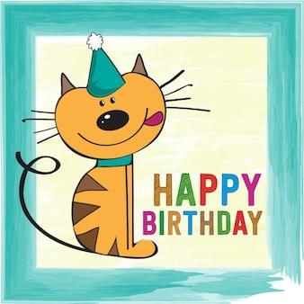 Kindliche Geburtstagskarte mit lustigen kleinen Katze