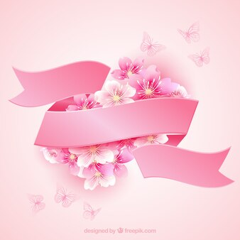Kirschblüten mit einem rosa Band