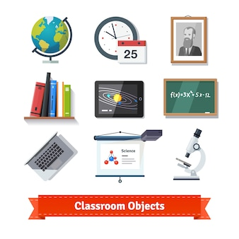 Klassenzimmer Objekte bunte flache Icon-Set