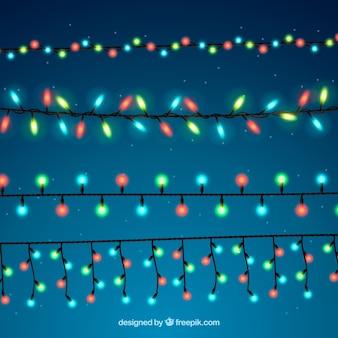 Klassische Packung mit bunten Weihnachtsbeleuchtung