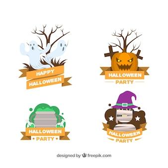 Klassische Vielfalt an flachen Halloween-Etiketten