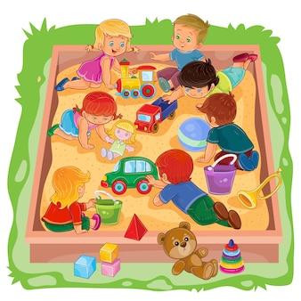 Kleine Jungen und Mädchen sitzen im Sandkasten, spielen ihre Spielsachen