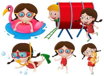 Kleine Mädchen machen viele Aktivitäten