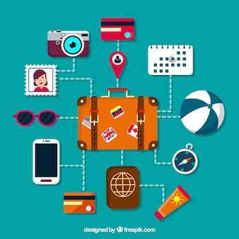 Koffer und anderes Reiseelement in flachem Design