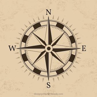 Kompass-Design mit braunem Hintergrund