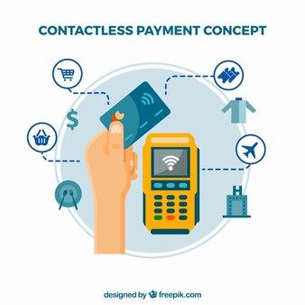 Kontaktlose Zahlung mit modernen Icons