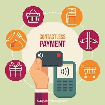 Kontaktlose Zahlung mit verschiedenen Icons