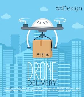 Konzept der Lieferung durch die Drohne.