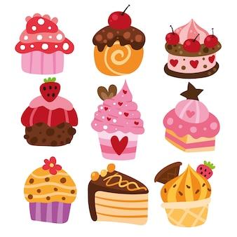 Köstliche Kuchenansammlung