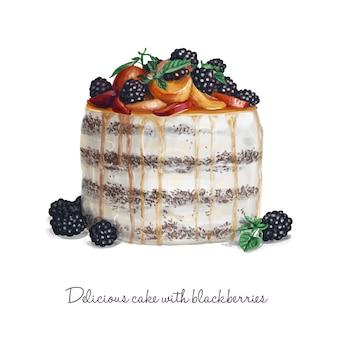 Köstlicher Kuchen mit Brombeeren