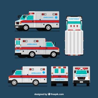 Krankenwagen aus verschiedenen Blickwinkeln