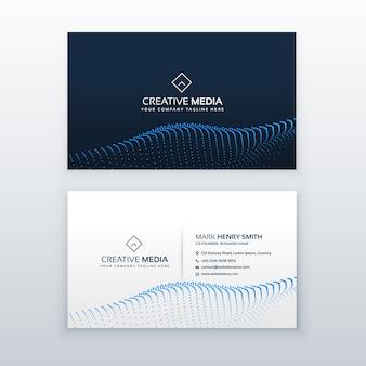 Kreatives Konzept der Visitenkarte Design mit blauen Partikel Welle