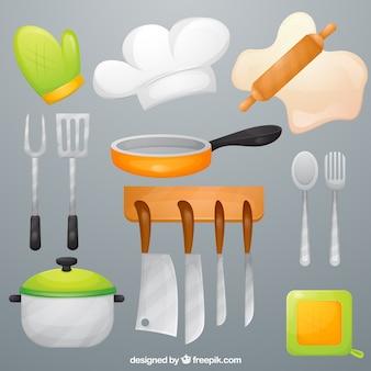 Küchenutensilien gesetzt