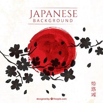 Künstlerische japanische Hintergrund mit Blumen