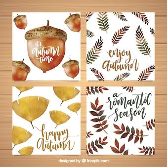 Künstlerische Satz von Aquarell Herbst Karten