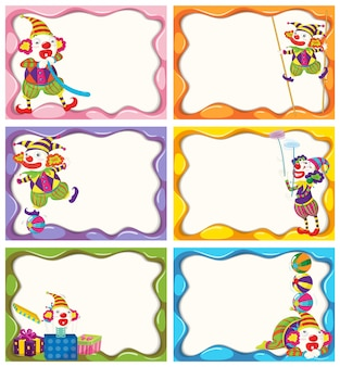 Label-Design mit fröhlichen Clowns