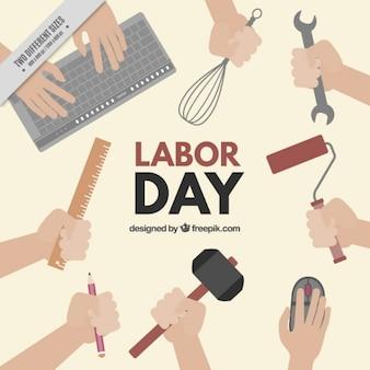 Labor Day Hintergrund mit Werkzeugen