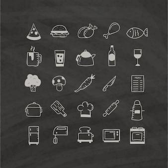 Lebensmittel-Icons Hand auf einem schwarzen Hintergrund gezeichnet