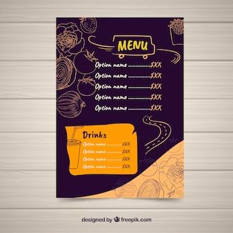 Lebensmittel-LKW-Menü mit handgezeichneten Zutaten