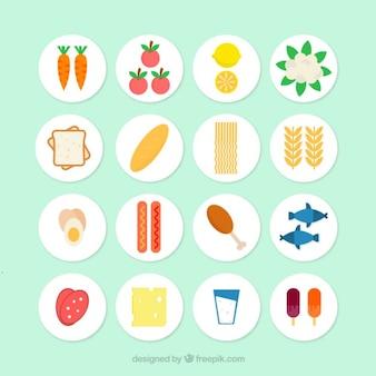 Leckere gesunde Lebensmittel in flaches Design