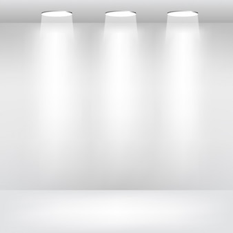 Leerer Raum mit Scheinwerfern