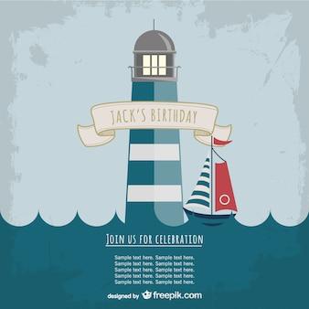 Leuchtturm-Party Einladungsschablone