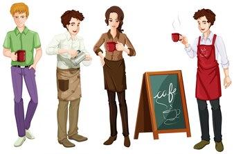 Leute, die an der Kaffeeabbildung arbeiten