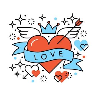 Liebe Herz romantische Hipster Zusammensetzung