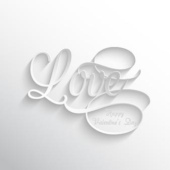 Liebe Text weißen Hintergrund